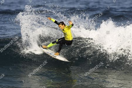 Australian Surfer and Current Leader of the World Ranking Sally Fitzgibbons in Action During Her Round 1 Heat of the Cascais Women's Pro at Praia Do Guincho Portugal 02 October 2014 Portugal Cascais