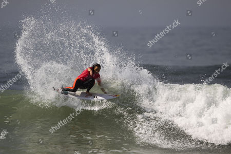 Hawaian Surfer Carissa Moore Current World Champion in Action During Her Round 3 Heat of the Cascais Women's Pro at Carcavelos Beach Portugal 03 October 2014 Portugal Oeiras