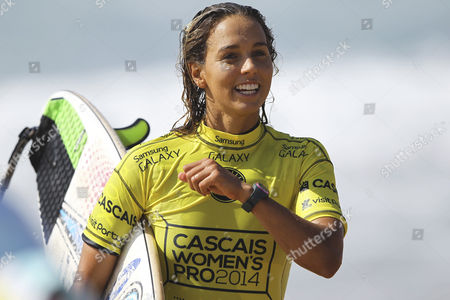 Australian Surfer and Current Leader of the World Ranking Sally Fitzgibbons Jubilates After Her Round 3 Heat of the Cascais Women's Pro at Carcavelos Beach Portugal 03 October 2014 Portugal Oeiras