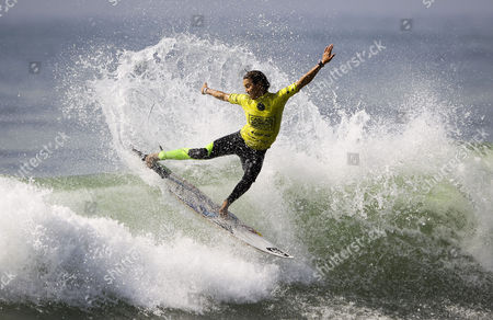 Australian Surfer and Current Leader of the World Ranking Sally Fitzgibbons in Action During Her Round 3 Heat of the Cascais Women's Pro at Carcavelos Beach Portugal 03 October 2014 Portugal Oeiras