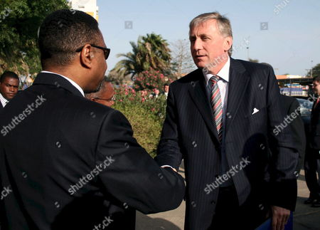 Jose Maria Neves Prime Minister of Cape Verde (l) Welcomes His Czech Counterpart Mirec Topolanek (r) During His Official Visit to Cape Verde Cidade Da Praia 13 May 2008 Cape Verde Cidade Da Praia