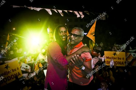 African Party For the Independence of Cape Verde (paicv) President Janira Hopffer Almada (l) Embraces Cape Verde's Prime Minister Jose Maria Neves During a Political Rally For the Upcoming Legislative Elections in Praia City Santiago Island Cape Verde 15 March 2016 Cape Verde Will Hold Legislative Elections on 20 March Cape Verde Praia City