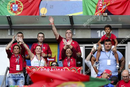 Family Members of Portuguese Player Cristiano Ronaldo Pictured Before the Uefa Euro 2016 Final Match Between Portugal and France at Stade De France in Saint-denis France 10 July 2016 Bottom From Left Are Sister Catia Aveiro Sister Elma Aveiro and Mother Maria Dolores Dos Santos Aveiro at Right Top His Son Cristiano Ronaldo Jr (restrictions Apply: For Editorial News Reporting Purposes Only not Used For Commercial Or Marketing Purposes Without Prior Written Approval of Uefa Images Must Appear As Still Images and Must not Emulate Match Action Video Footage Photographs Published in Online Publications (whether Via the Internet Or Otherwise) Shall Have an Interval of at Least 20 Seconds Between the Posting ) France Saint-denis