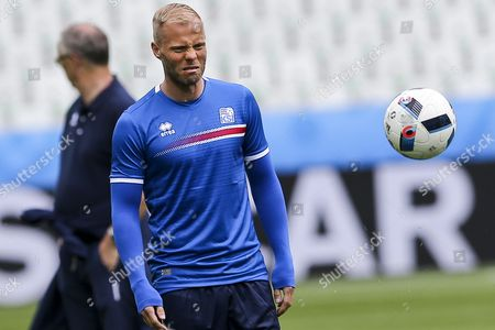 Iceland Player Eidur Gudjohnsen During the Training Session at Stade Geoffroy Guichard in Saint-etienne in Preparation For Tomorrows Match Against Portugal Group F of Euro 2016 in Saint-etienne France 13 June 2016 (restrictions Apply: For Editorial News Reporting Purposes Only not Used For Commercial Or Marketing Purposes Without Prior Written Approval of Uefa Images Must Appear As Still Images and Must not Emulate Match Action Video Footage Photographs Published in Online Publications (whether Via the Internet Or Otherwise) Shall Have an Interval of at Least 20 Seconds Between the Posting ) France Saint-etienne