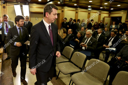 Polish Minister of Administration and Digitalization Andrzej Halicki (c) During the Presentation Ceremony of the Citizen Portal Leaded by His Portuguese Counterpart Poiares Maduro (l) in Lisbon Portugal 12 March 2015 Portugal Lisbon