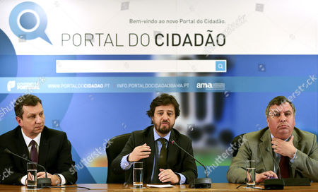 Polish Minister of Administration and Digitalization Andrzej Halicki (l) and Portuguese Secretary of State For the Administrative Modernization Joaquim Pedro Cardoso Da Costa (r) During the Presentation Ceremony of the Citizen Portal Lead by His Portuguese Counterpart Poiares Maduro (c) in Lisbon Portugal 12 March 2015 Portugal Lisbon