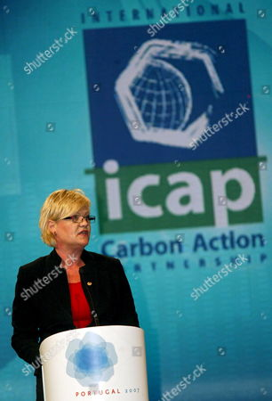 Finance Minister of Norway Kristin Halvorsen Speaks During the Official Launching Ceremony of the International Carbon Action Partnership Portugal's Pavilion Lisbon 29 October 2007 Portugal Lisbon