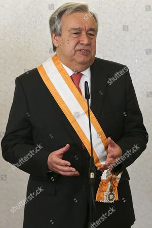 Former Portuguese Prime Minister and Former Senior United Nations High Commissioner For Refugees Antonio Guterres Speech After Been Decorated by the Portugal's President Anibal Cavaco Silva (not Pictured) with the Grand Cross of the Order of Freedom This Morning in Belem Palace in Lisbon Portugal 02 February 2016 Portugal Lisbon