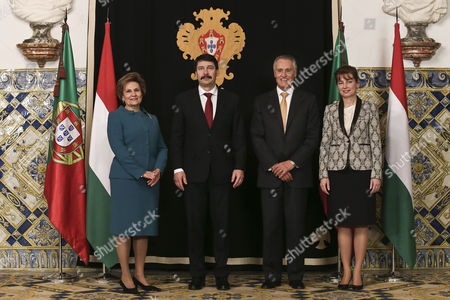 Portugal's President Cavaco Silva (2r) Accompanied by His Wife Maria Cavaco Silva (l) During the Meeting with His Hungarian Counterpart Janos Ader (2l) and His Wife Anita Herczeg (r) During Their Meeting at Belem Palace in Lisbon Portugal 06 March 2015 Portugal Lisboa