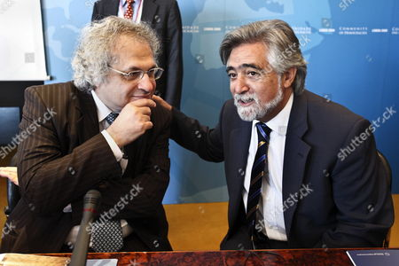 Foreign Affairs Minister of Portugal Lu?s Amado (r) Chats with Lebanese Writer Amin Maalouf During the Workshop with the Civil Society: Democratic Governance and Intercultural Dialogue in the Fifth Ministerial Conference of the Community of Democracies Taking Place at Centro Cultural De Bel?m in Lisbon From 11 to 12 of July Lisbon Portugal 11 July 2009 Portugal Lisbon