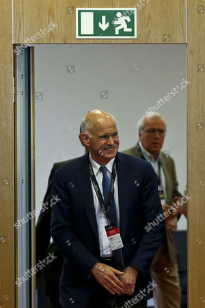 The Former Prime Minister of Greece Georgios Papandreou (l) Arrives at a Press Conference of the Estoril Conferences at the Estoril Conferences at the Estoril Congress Center Estoril Outskirts of Lisbon Portugal 20 May 2015 the Conference Runs Untill 22 May Portugal Lisbon