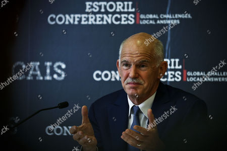 The Former Prime Minister of Greece Georgios Papandreou Speaks to Journalists During a Press Conference at the Estoril Conferences at the Estoril Congress Center Estoril Outskirts of Lisbon Portugal 20 May 2015 the Conference Runs Untill 22 May Portugal Lisbon