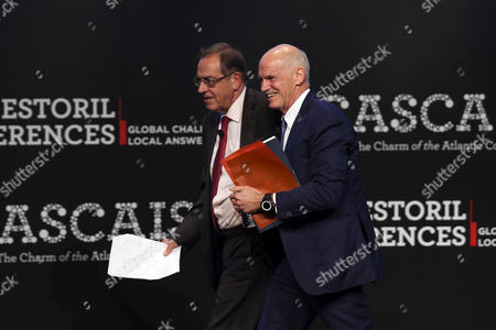 Former Prime Minister of Greece Georgios Papandreou (r) Walks on Stage with College Professor and Former Finance Minister Braga De Macedo (l) at the End of His Talk During the Estoril Conferences at the Estoril Congress Center Estoril Outskirts of Lisbon Portugal 20 May 2015 the Conference Runs Untill 22 May Portugal Lisbon