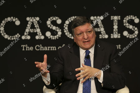 Former Prime Minister of Portugal and Former President of the European Comission Jose Manuel Durao Barroso Speaks to an Audience During a Discussion at the Estoril Conferences That Take Place Untill 22 May at the Estoril Congress Center in Estoril on the Outskirts of Lisbon Portugal 21 May 2015 Portugal Estoril