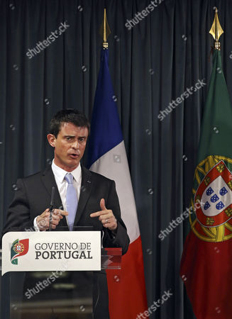 French Prime Minister Manuel Valls and His Portuguese Counterpart Pedro Passos Coelho (not Pictured) Speak to the Journalists During a Press Conference After Their Meeting at Sao Bento Palace in Lisbon Portugal 10 April 2015 Manuel Valls is on a One Day Visit to Lisbon Portugal Lisbon