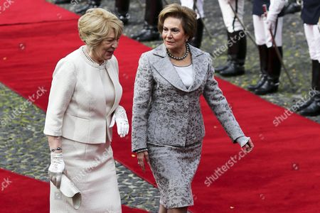 Sabina Coyne (l) Wife of Ireland's President is Accompanied by the Portuguese President's Wife Maria Cavaco Silva (r) During the Welcome Ceremony at the Belem Palace in Lisbon Portugal 09 December 2015 Michael Daniel Higgins is on a Four-day Official Visit to Portugal Portugal Lisbon
