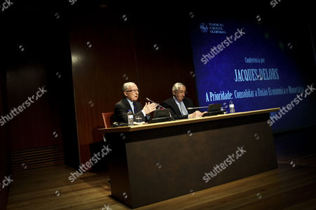 Former President of the European Commission Jacques Delors (l) Speaks Next to President of Calouste Gulbenkian Foundation Artur Santos Silva During the Conference 'The Priority: Strengthen the Economic and Monetary Union' at Calouste Gulbenkian Foundation in Lisbon Portugal 05 June 2013 Portugal Lisbon