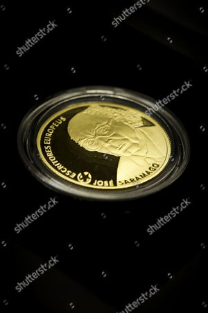 A Gold Coin in Honor of the Portuguese Writer and Recipient of the 1998 Nobel Prize in Literature Jose Saramago who Died in 2010 is Seen During the Presentation at Jose Saramago Foundation in Lisbon Portugal 22 May 2013 Portugal Lisbon