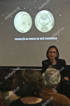 Jose Saramago Widow's Pilar Del Rio Presents the Coin in Honor of the Portuguese Writer and Recipient of the 1998 Nobel Prize in Literature Jose Saramago who Died in 2010 is Seen During the Presentation at Jose Saramago Foundation in Lisbon Portugal 22 May 2013 Portugal Lisbon