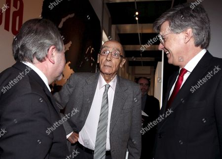 Portuguese Literature Nobel Prize Jose Saramago Arriving Together with Portuguese Minister of Culture Jose Antonio Pinto Ribeiro (r) to Present the Exhibition About His Life at the Ajuda Palace in Lisbon Portugal 22 April 2008 Portugal Lisbon