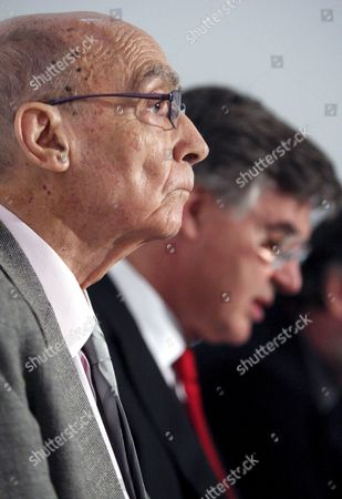 Nobel-laureate Portuguese Writer Jose Saramago Speaking During the Press Conference to Present an Exhibition About His Life with Portuguese Minister of Culture Jose Antonio Pinto Ribeiro in the Background at the Ajuda Palace in Lisbon Portugal 22 April 2008 Portugal Lisbon