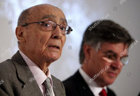 Nobel-laureate Portuguese Writer Jose Saramago Speaking During the Press Conference to Present an Exhibition About His Life with Portuguese Minister of Culture Jose Antonio Pinto Ribeiro (r) at the Ajuda Palace in Lisbon Portugal 22 April 2008 Portugal Lisbon