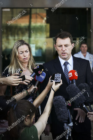 British Gerry Mccann (r) and Kate Mccann (l) the Parents of Their Missing Daughter Madeleine Talk to the Press After a Court Session in the Libel Case Against Former Portuguese Police Chief Goncalo Amaral (not Pictured) at Lisbon's Palace of Justice in Lisbon Portugal 08 July 2014 Portugal Lisbon
