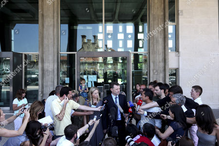 Gerry Mccann (centre Right) and His Wife Kate (centre Left) the Parents of Missing British Child Madeleine Talking to the Press After Attending the Ongoing Libel Case Against Former Portuguese Police Chief Goncalo Amaral at Lisbon's Palace of Justice in Lisbon Portugal 16 June 2014 Portugal Lisbon