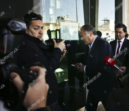 The Former Portuguese Police Chief Goncalo Amaral (right) Arrives at the Courthouse For the Trial in Which He is Accused of Libel by the British Couple Gerry and Kate Mccann (not Pictured) the Parents of the Disappeared British Child Madeleine at Lisbon's Palace of Justice in Lisbon Portugal 8 July 2014 Portugal Lisbon