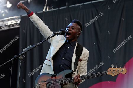 Stock Photo of Nigerian-born Bass Player Gbenga Adelekan of British Electronic Band Metronomy Performs During the 20th Super Bock Super Rock Festival in Meco Sesimbra Portugal 17 July 2014 the Music Event Runs From 17 to 19 July Portugal Sesimbra