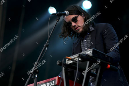 Stock Picture of Keyboard Player Brian Oblivion of the Us Band Cults Performs During the 20th Super Bock Super Rock Festival in Meco Sesimbra Portugal 18 July 2014 the Music Event Runs From 17 to 19 July Portugal Sesimbra