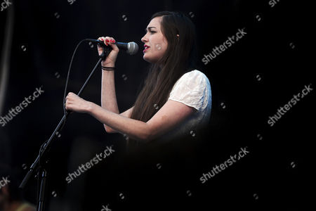 Stock Image of Lead Singer Madeline Follin of the Us Band Cults Performs During the 20th Super Bock Super Rock Festival in Meco Sesimbra Portugal 18 July 2014 the Music Event Runs From 17 to 19 July Portugal Sesimbra