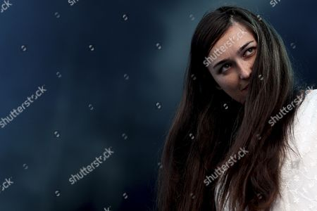 Stock Picture of Lead Singer Madeline Follin of the Us Band Cults Performs During the 20th Super Bock Super Rock Festival in Meco Sesimbra Portugal 18 July 2014 the Music Event Runs From 17 to 19 July Portugal Sesimbra
