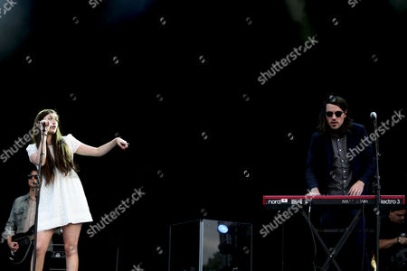 Lead Singer Madeline Follin (l) and Keyboard Player Brian Oblivion (r) of the Us Band Cults Perform During the 20th Super Bock Super Rock Festival in Meco Sesimbra Portugal 18 July 2014 the Music Event Runs From 17 to 19 July Portugal Sesimbra