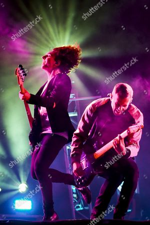 Bassist Jordan Lawlor (l) and Guitarist and Singer Anthony Gonzalez (l) of the French Electronic Music Group of the Electronic Music Group M83 Performs During the Alive Festival in Oeiras Outskirts of Lisbon Portugal 09 July 2016 the Festival Runs From 07 to 09 July Portugal Oeiras
