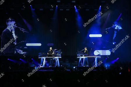 British Musicians Guy Lawrence (l) and Howard Lawrence (r) of the Electronic Music Duo 'Disclosure' Perform During a Concert at Super Rock Festival in Lisbon Portugal 14 July 2016 the Festival Runs From 14 Trough 16 July Portugal Lisboa