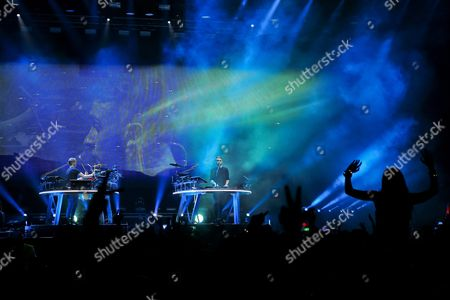 British Musicians Guy Lawrence (l) and Howard Lawrence (c) of the Electronic Music Duo 'Disclosure' Perform During a Concert at Super Rock Festival in Lisbon Portugal 14 July 2016 the Festival Runs From 14 Trough 16 July Portugal Lisboa