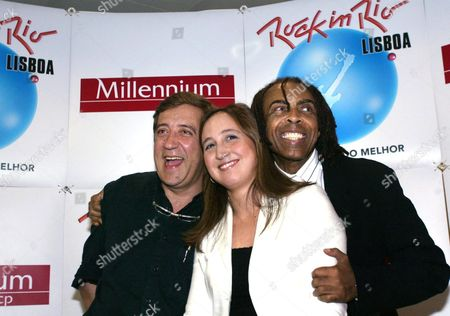 Brazilian Minister of Culture and Pop Singer Gilberto Gil (r) Shares the Stage with Classic Music Conductor Joana Carneiro (c) and Portuguese Rock Star Rui Veloso (l) During the Presentation of the Mega-concert Rock in Rio Lisboa Which Opened in Lisbon on Friday 28 May 2004 Portugal Lisbon
