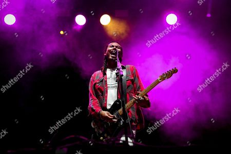 Stock Image of Australian Alternative Rock Band 'Temper Trap' Lead Singer Dougy Mandagi Performs During a Concert at Super Rock Festival in Lisbon Portugal 14 July 2016 the Festival Runs From 14 Trough 16 July Portugal Lisbon