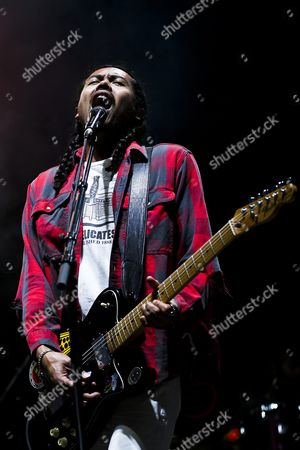 Australian Alternative Rock Band 'Temper Trap' Lead Singer Dougy Mandagi Performs During a Concert at Super Rock Festival in Lisbon Portugal 14 July 2016 the Festival Runs From 14 Trough 16 July Portugal Lisbon