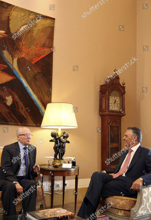 French Former President of the European Commission Jacques Delors (l) Speaks with the Portuguese President Anibal Cavaco Silva During a Meeting Held at Belem Palace Lisbon Portugal 05 June 2013 Delors Served Three Terms As Eu President From 1985 to 1994 Portugal Lisboa