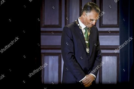 Portugal's Former President Anibal Cavaco Silva After Being Honored by the New Portugal's President Marcelo Rebelo De Sousa (not Pictured) with the Order of Freedom in Lisbon Portugal 09 March 2016 Portugal Lisbon