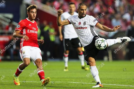 Benfica's Andre Horta (l) in Action Against Besiktas' Gokhan Inler (r) During the Uefa Champions League Group B Soccer Match Between Benfica Lisbon and Besiktas Istanbul at Luz Stadium in Lisbon Portugal 13 September 2016 Portugal Lisbon