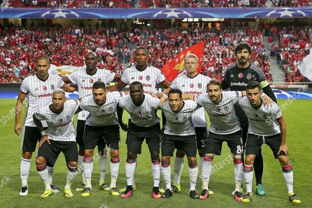 Besiktas Players (front Row L-r) Ricardo Quaresma Dusko Tosic Vincent Aboubakar Adriano Caner Erkin and Oguzhan Ozyakup; (back Row L-r) Gokhan Inler Atiba Hutchinson Marcelo Andreas Beck and Goalkeeper Tolga Zengin Line Up Before the Uefa Champions League Group B Soccer Match Between Benfica Lisbon and Besiktas Istanbul at Luz Stadium in Lisbon Portugal 13 September 2016 Portugal Lisbon
