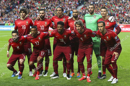 Portuguese National Soccer Team Players (front Row L-r) Joao Moutinho Nani Eliseu Fabio Coentrao and Ricardo Carvalho; (back Row L-r) Tiago Mendes Danny Bruno Alves Jose Bosingwa Goalkeeper Rui Patricio and Captain Cristiano Ronaldo Line Up Before the Uefa Euro 2016 Qualifying Group i Soccer Match Between Portugal and Serbia in Lisbon Portugal 29 March 2015 Portugal Lisbon