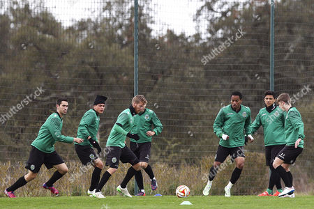 Sporting's Players (l-r) Paulo Oliveira Jonathan Silva Oriol Rosell Andre Carrillo Fredy Montero and Ryan Gauld Perform During Their Team's Training Session at Academia Sporting in Alcochete Portugal 25 February 2015 Sporting Will Face Vfl Wolfsburg in Their Uefa Europa League Round of 32 Second Leg Soccer Match at Alvalade Stadium in Lisbon on 26 February 2015 Portugal Alcochete