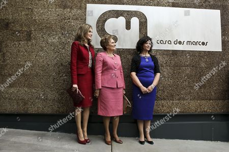 Queen Letizia of Spain (l) Accompanied by Portuguese First Lady Maria Cavaco Silva (c) and Paula Brito E Costa (r) the President of the Rarissimas National Association of Mental and Rare Illnesses Visits the Casa Dos Marcos That Provides Specialized Services For People with Rare Diseases in Moita Setubal Municipality Portugal 07 November 2014 Portugal Setubal