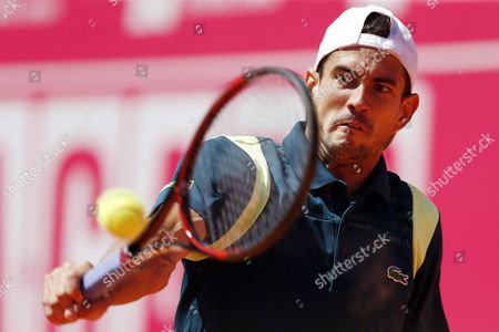 Guillermo Garcia of Spain in Action Against Michael Berrer of Germany During Their First Round Match For the Estoril Open Tennis Tournament in Estoril Portugal 26 April 2016 Portugal Estoril