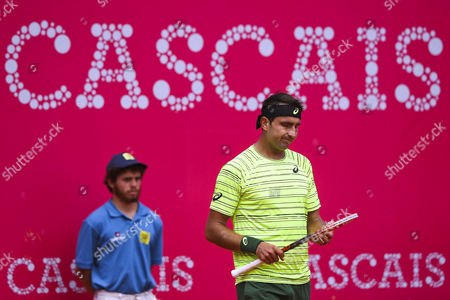 Australia's Marinko Matosevic (r) Reacts After Losing a Point to France's Richard Gasquet During Their First Round Match of the Estoril Open 2015 Tennis Tournament at Estoril Tennis Club in Estoril Portugal 28 April 2015 Portugal Estoril