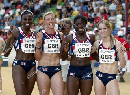 Great Britain's Winning Relay Team Donna Fraser (l) Lee Maconnell (2-l) Christine Ohuruogu (2-r) and Kim Wall (r) Pose For Photos After Women's 4 X 400m Race at the Atletics European Cup at Magalhaes Pessoa Station in Leiria 19 June 2005 Portugal Leiria